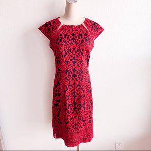 TADASHI SHOJI Red Crewel Embroidered Sheath Dress
